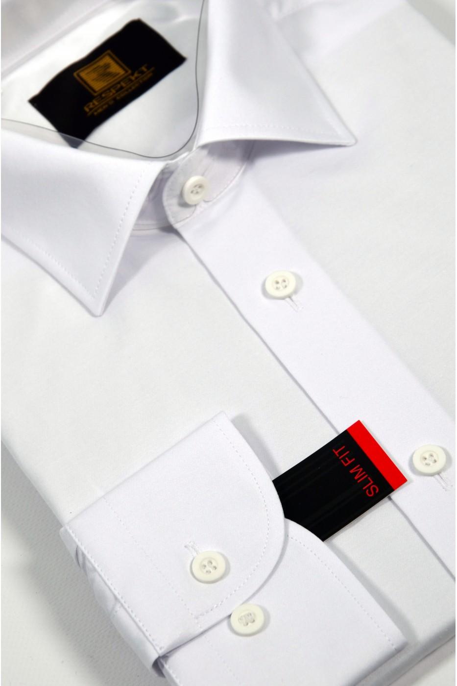 Белая мужская офисная рубашка 338 (53-08)