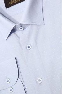 Голубая мужская классическая рубашка в мелкую крапинку 339 (53-08)
