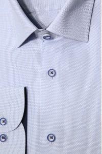 Голубая мужская рубашка в мелкую фактуру 340 (54-07)