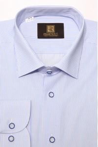 Голубая мужская классическая рубашка в мелкую полоску 341 (53-08)