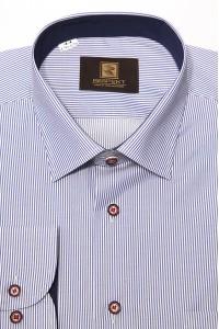 Синяя мужская классическая рубашка в мелкую полоску 342 (56)