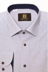 Белая мужская деловая рубашка в синюю мелкую клетку 343 (54-07)