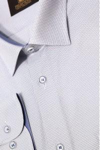 Голубая мужская классическая рубашка в голубую мелкую клетку 344 (56)