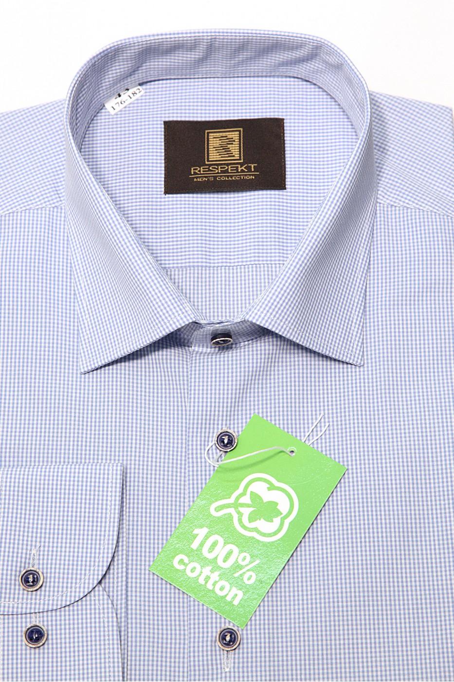 Голубая мужская хлопковая рубашка в белую мелкую клетку 345 (54-07)