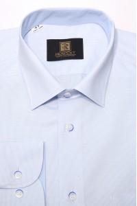 Голубая мужская классическая рубашка в голубую мелкую клетку 346 (53-08)