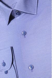 Синяя мужская рубашка в мелкую фактуру с синими пуговицами  ДР 365 (53-08)