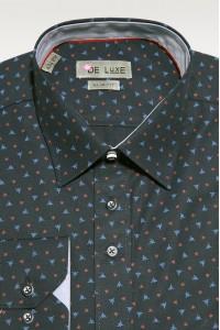 Черная мужская рубашка в красно-синюю звездочку D36SF