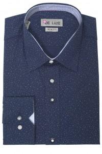 Тёмно-синяя мужская рубашка в белую крапинку D47SF