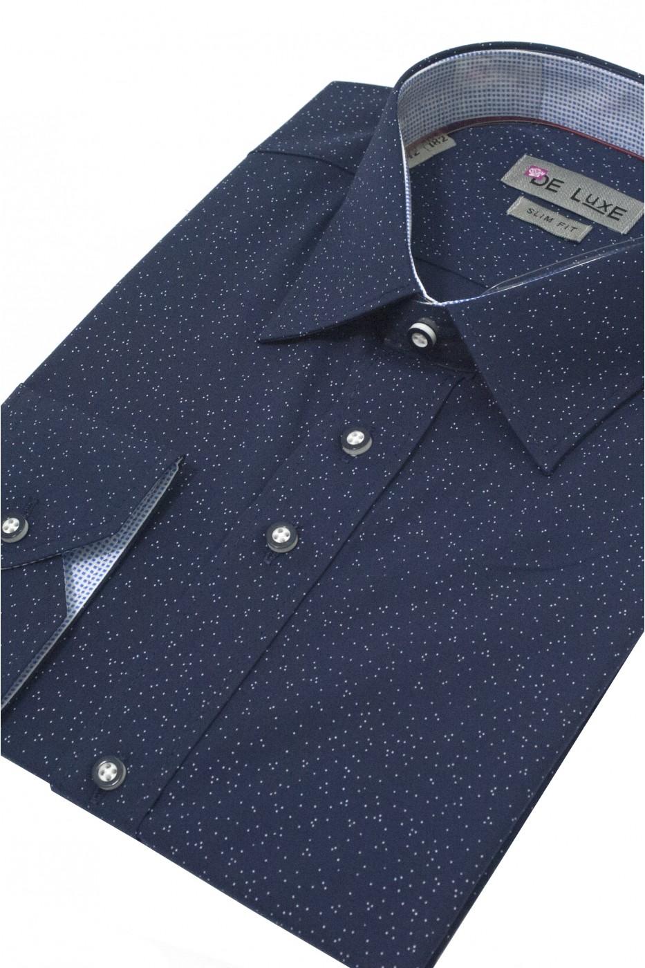 Тёмно-синяя мужская рубашка в белую крапинку D47CL
