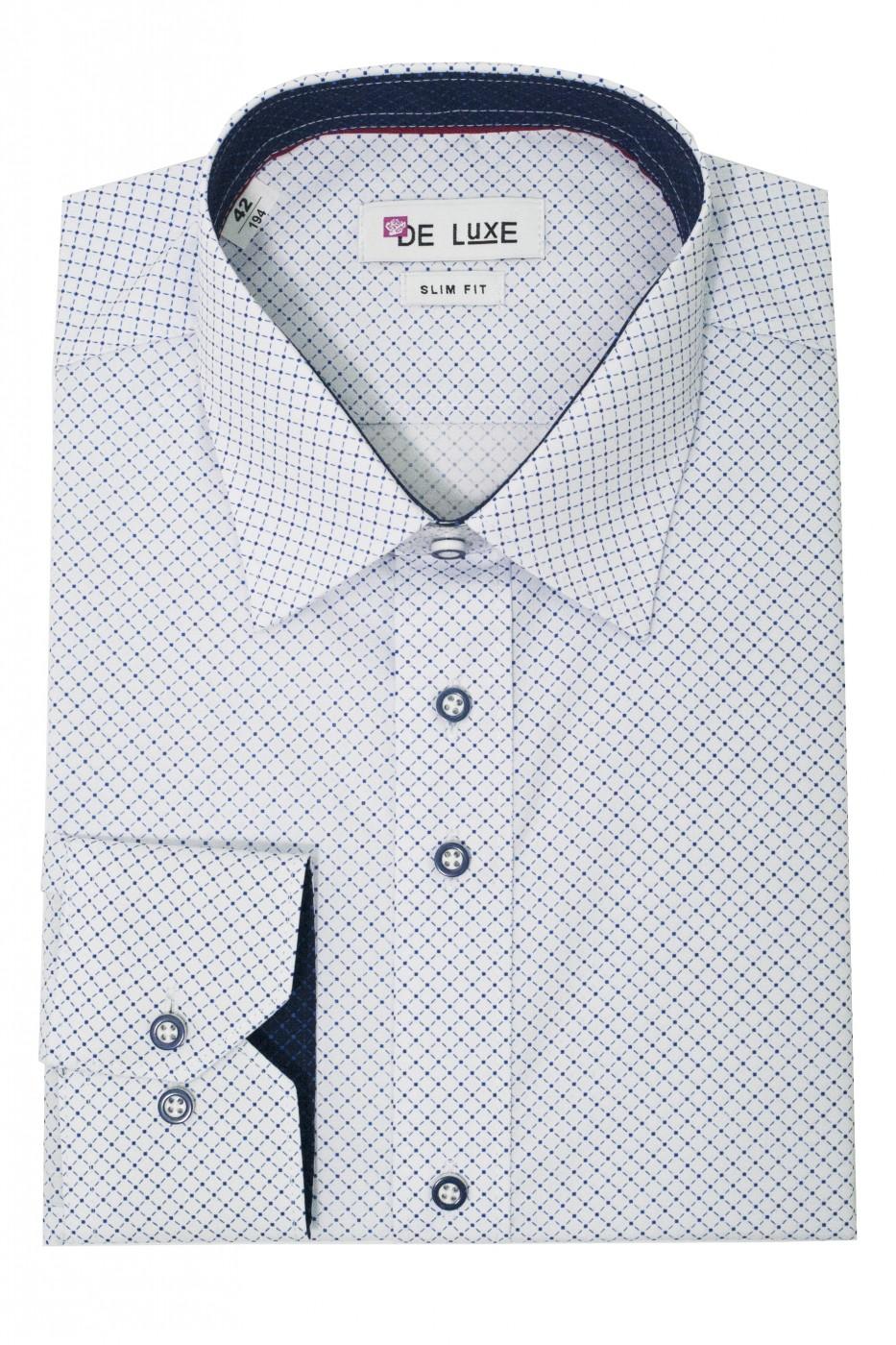 Белая мужская рубашка в голубой ромбик D48CL