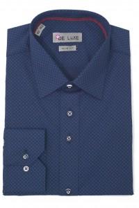 Тёмно-синяя мужская рубашка в голубой ромбик D49CL