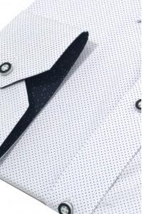 Белая мужская рубашка в мелкую крапинку D50CL (47-50)