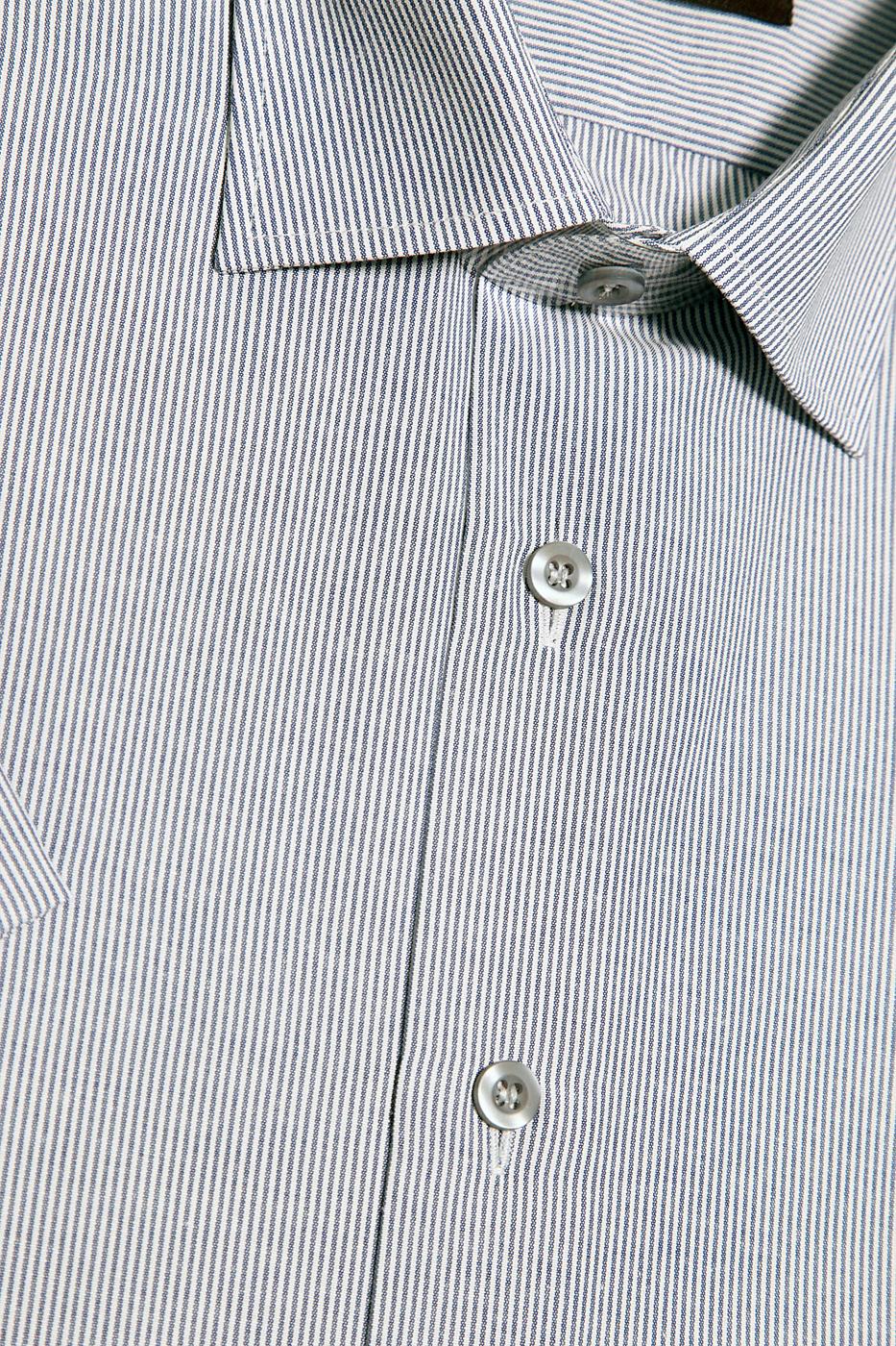 Серая мужская рубашка в полоску с коротким рукавом КР 264 (5407А)