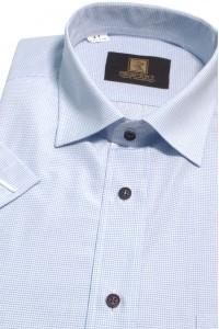 Белая мужская рубашка в голубую клетку с коротким рукавом  КР 315 (53-08)
