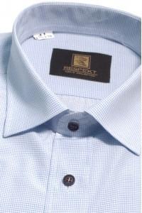 Белая мужская рубашка в голубую клетку с коротким рукавом ККР 315 (56)