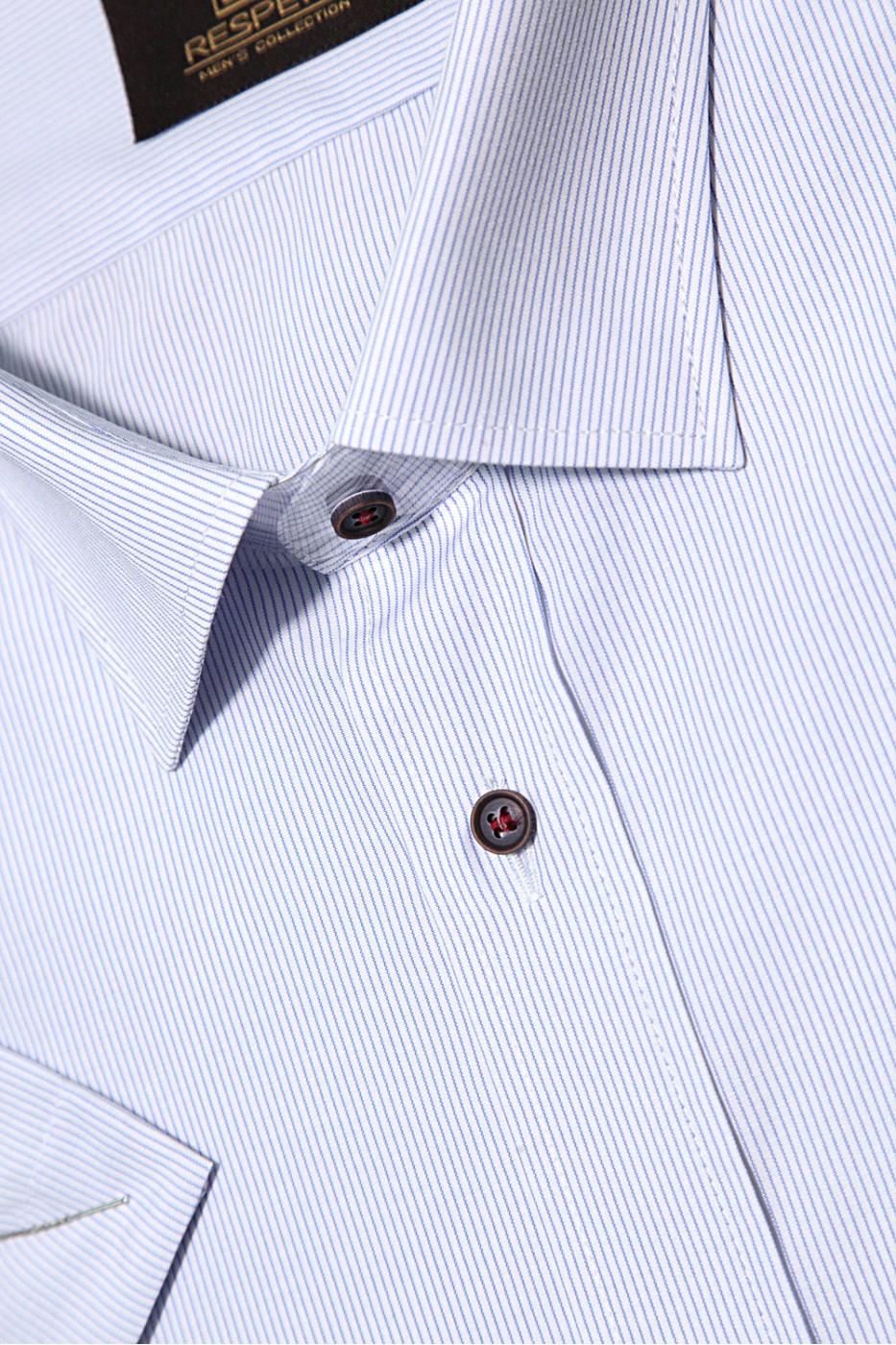Белая мужская рубашка в голубую полоску с коротким рукавом  КР 316 (54-07)