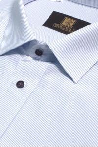 Белая мужская рубашка в голубую полоску с коротким рукавом КР 316 (53-08)