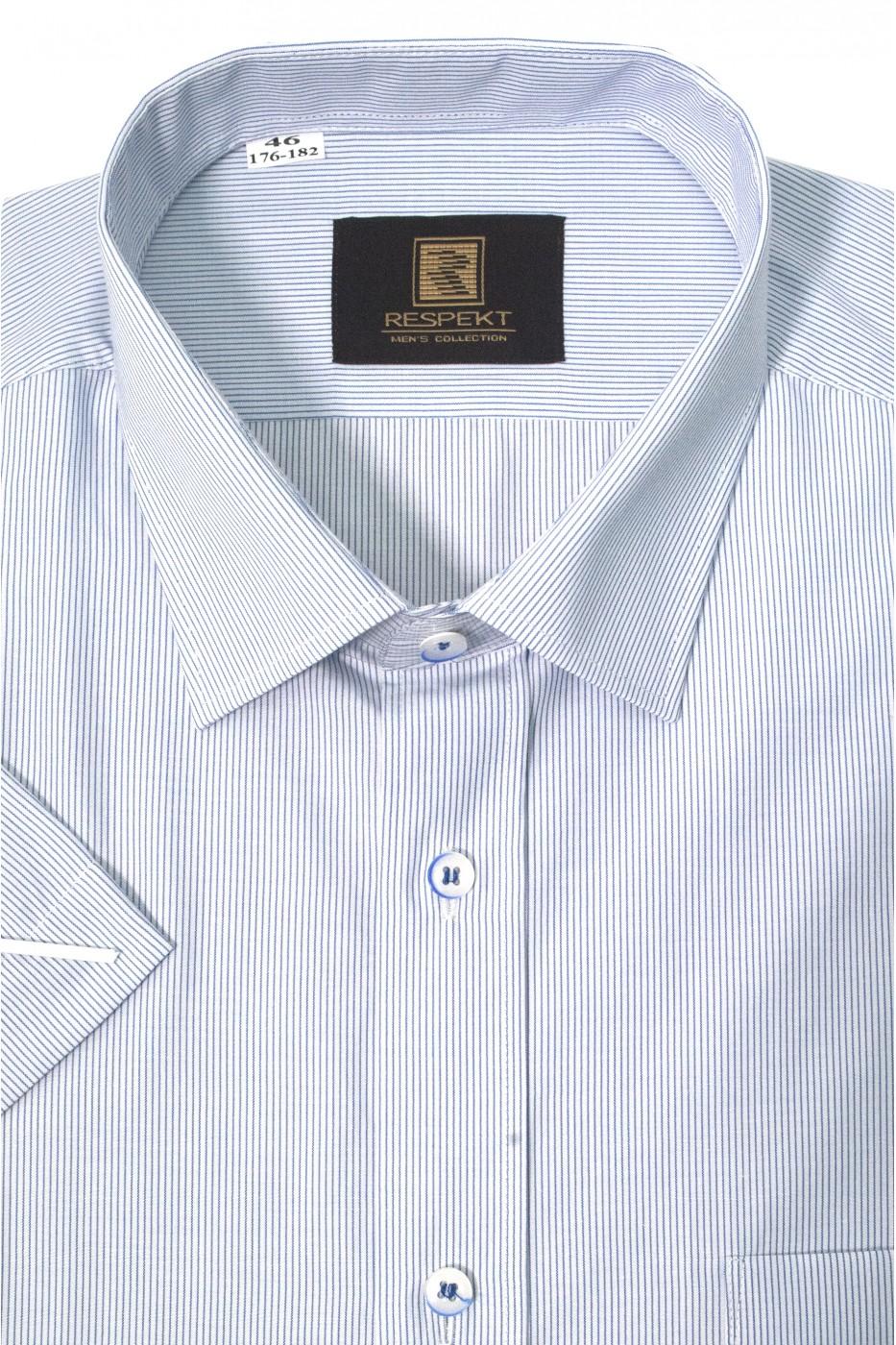Белая мужская рубашка в голубую полоску с коротким рукавом КР 317 (53-08)