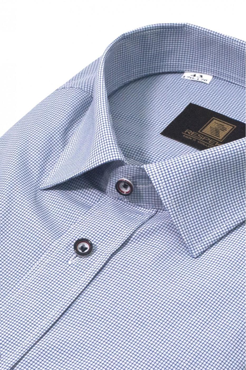 Белая мужская рубашка в голубую клетку с коротким рукавом КР 318 (53-08)