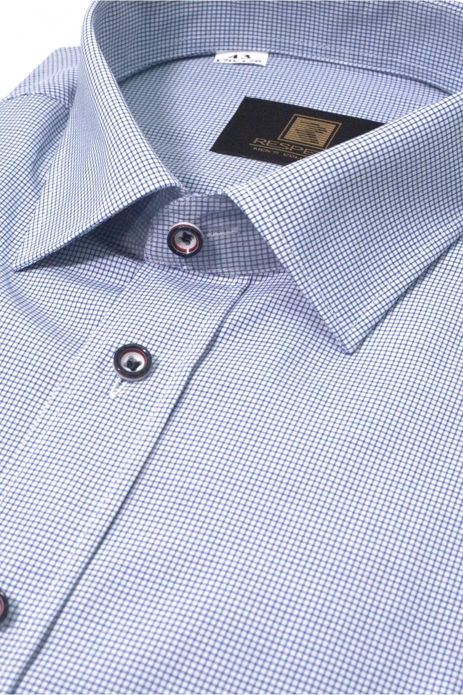 Синяя мужская рубашка в голубую клетку с коротким рукавом КР 318 (54-07)