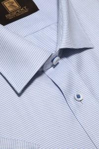 Голубая мужская рубашка в белую клетку с коротким рукавом КР 319 (53-08)