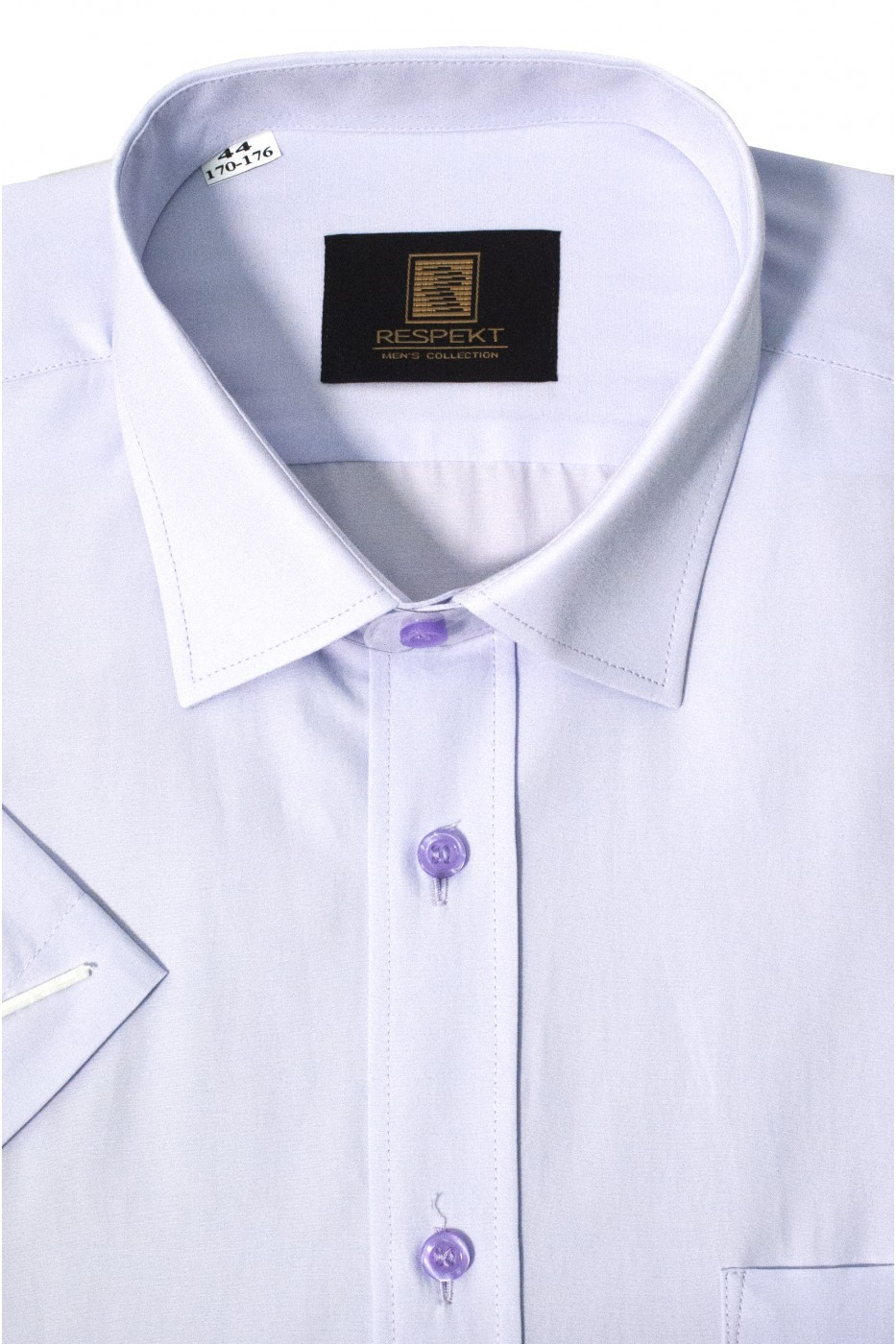 Сиреневая мужская рубашка с коротким рукавом КР 322 (56)