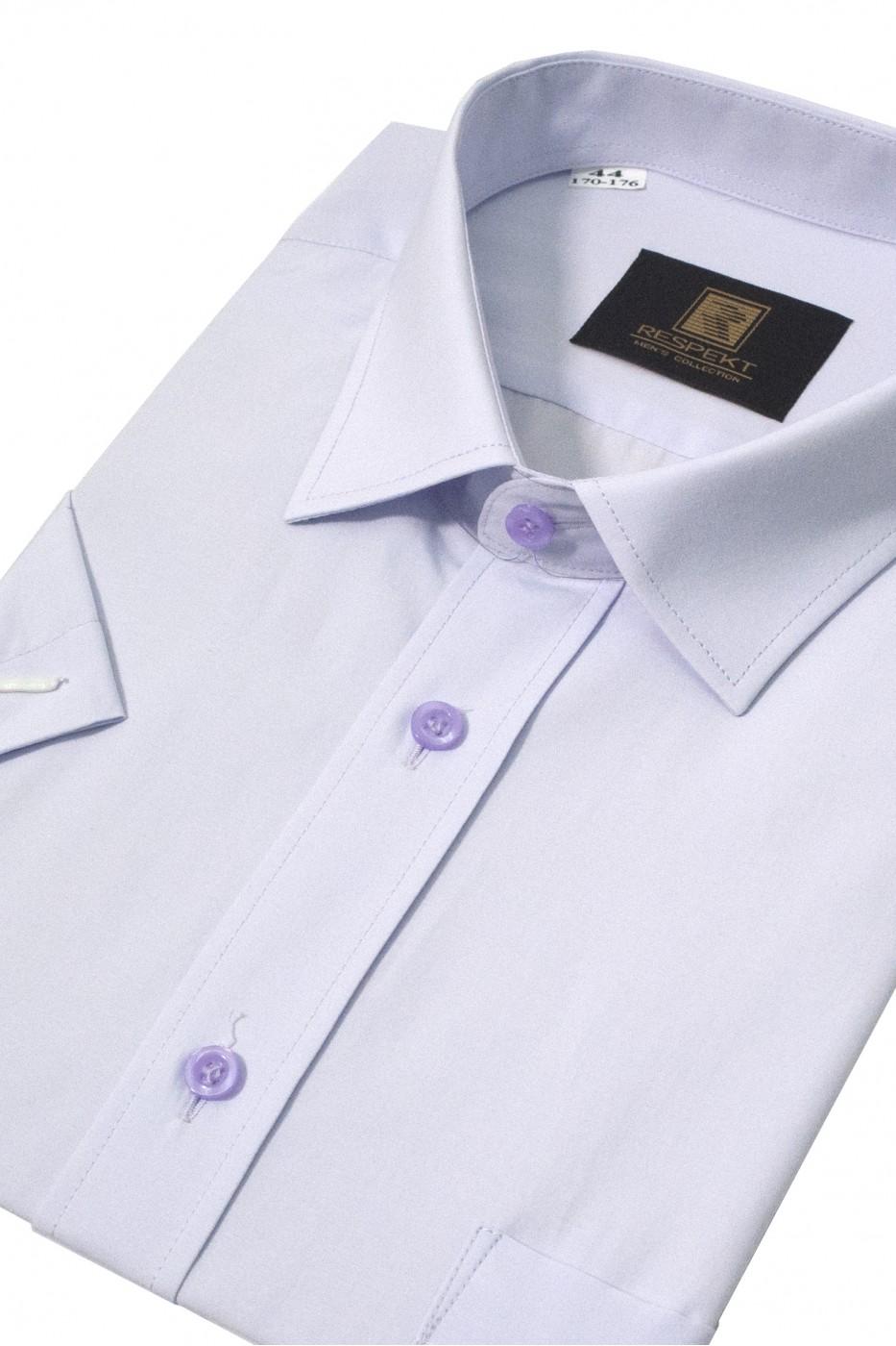 Сиреневая мужская рубашка с коротким рукавом КР 322 (53-08)
