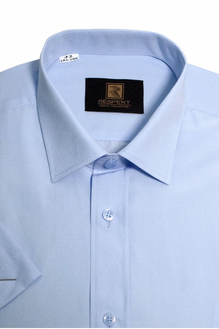 Голубая мужская рубашка с коротким рукавом КР 323 (54-07)