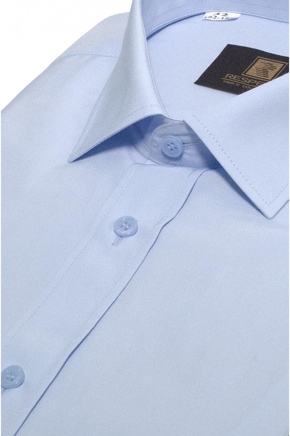 Голубая мужская рубашка с коротким рукавом КР 323 (53-08)