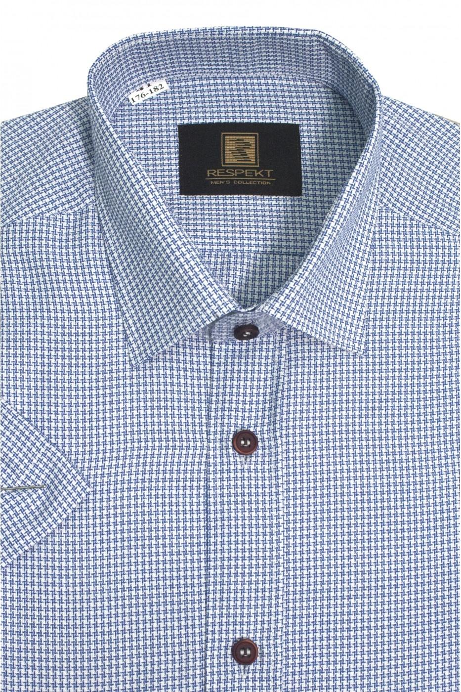 Белая мужская рубашка в синюю звездочку с коротким рукавом КР 324 (53-08)