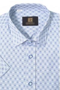 Голубая мужская рубашка с коротким рукавом 325 (53-08)