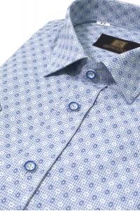 Голубая мужская рубашка с коротким рукавом 325 (54-07)