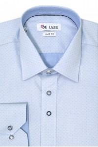 Голубая мужская рубашка в мелкий ромбик Z46SF