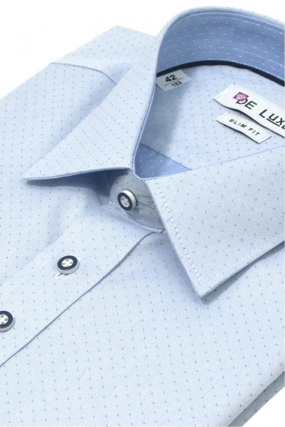 Голубая мужская рубашка в мелкий ромбик Z46CL