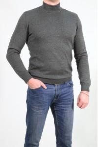Серый мужской однотонный свитер 2002