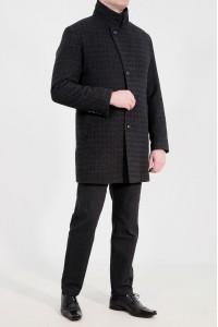 Чёрное мужское классическое пальто в серую клетку 2049 (JONNY-2088)