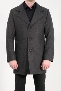 Серое мужское классическое пальто в мелкую серую клетку 2050 (COMO-2088)