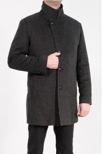 Тёмно-серое мужское классическое пальто в мелкую полоску 2051 (DENVER-2088)