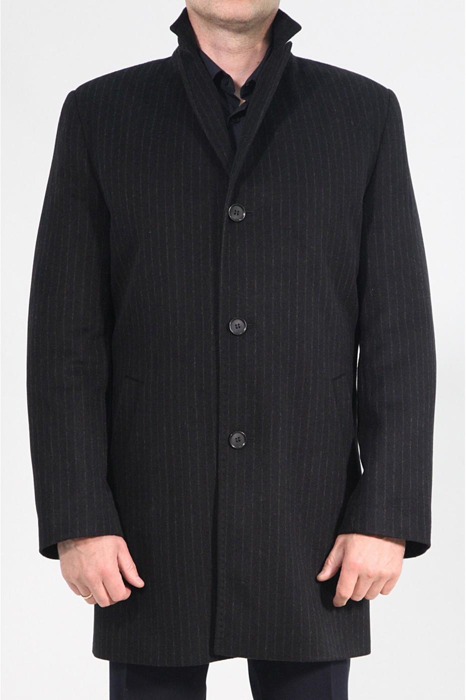 Чёрное мужское зимнее пальто 828 (DENVER-1876)
