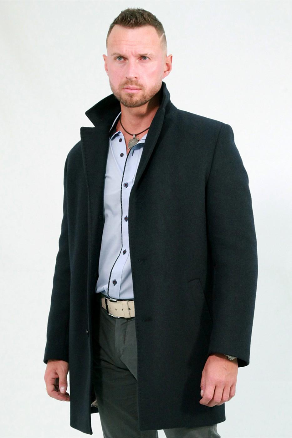 Чёрное мужское зимнее пальто 829 (NEVADA-1876)