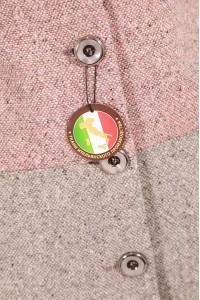 Серо-розовое пальто женское 535 (ADRIANA COMBI)