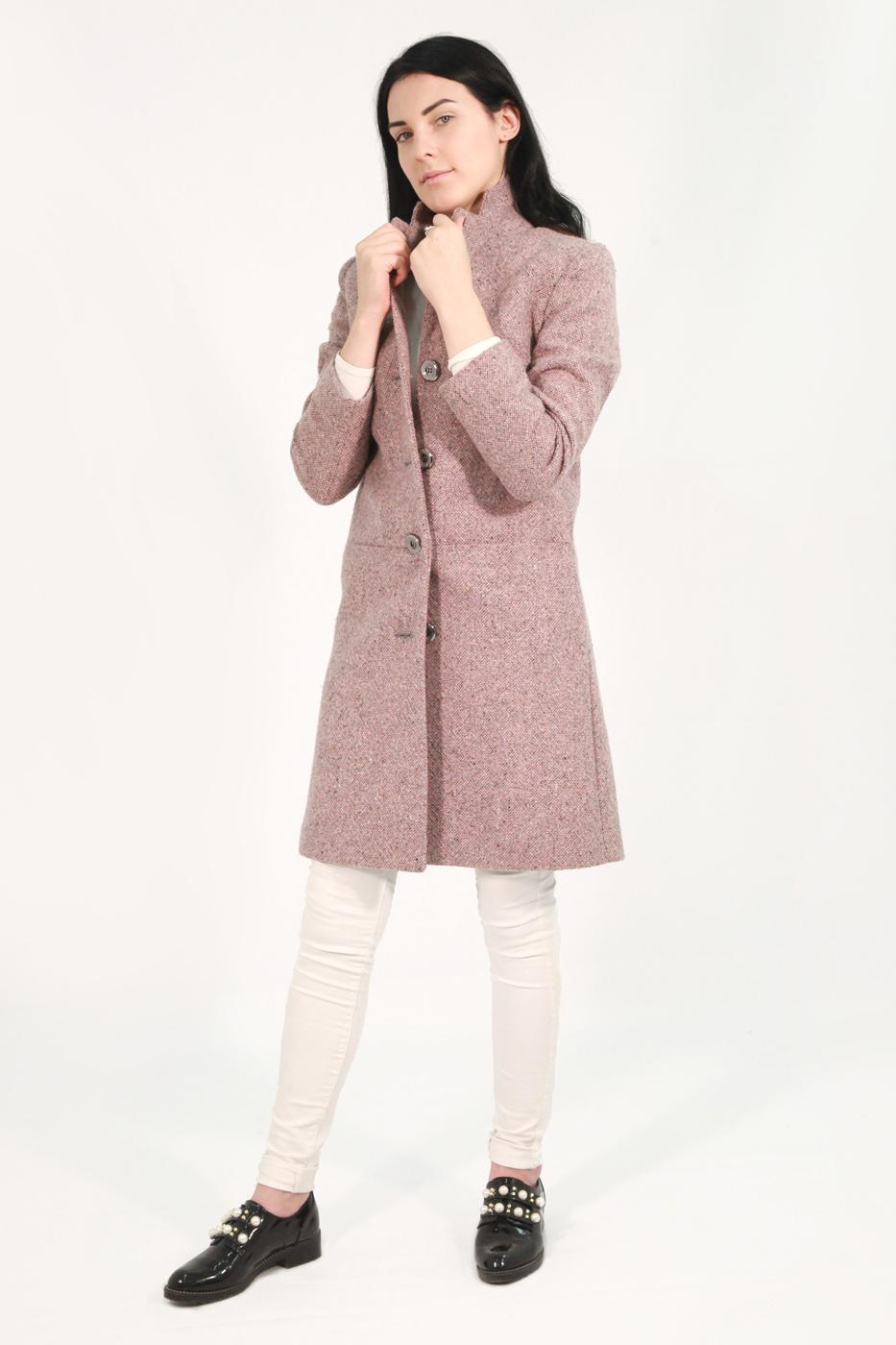 Розовое женское пальто 587 (ADRIANA ROSE)