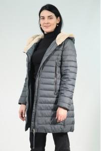 Серая женская зимняя куртка с меховым капюшоном 702360Y21C ЦВ.70