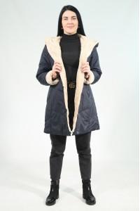 Тёмно-синяя женская зимняя куртка с мехом 743360Y15C ЦВ.97